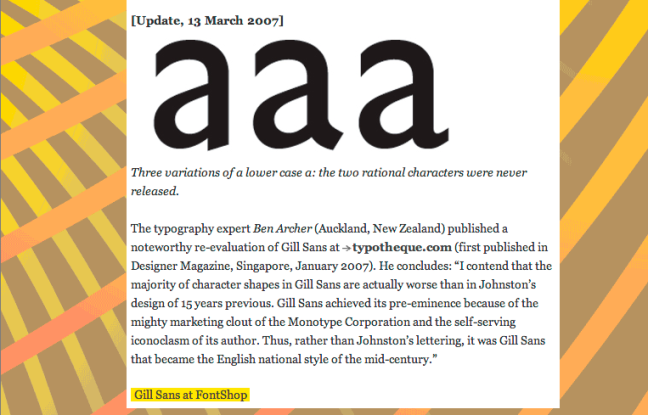Gill sans opinion at 100types